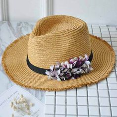 Pink straw Panama hat with flower womens summer sun hats