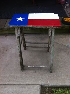 1950s style kitchen stool up-cycled to a TEXAS patio table.