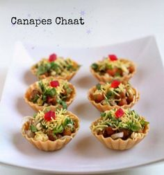 canapes chaat recipe - Indian canape recipe of healthy sprouts topped on canapes. canape chaat recipe with step by step pictures. canapes recipes…More Canapes Recipes, Veg Recipes, Indian Food Recipes, Snack Recipes, Cooking Recipes, Party Food Ideas Indian, Canapes Ideas, Indian Wedding Food, Cooking Tips
