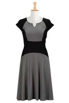 Colorblock Cotton Knit Dresses, Black And Gray Dresses Shop women's designer clothing - Cocktail Dress, Short Dresses, and more | eShakti.co...