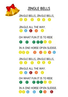 Jingle Bells - Easy Piano Music Sheet for Toddlers. How to teach young children to play music keyboard using coloured stickers. Jingle Bells - Easy Piano Music Sheet for Toddlers. How to teach young children to play music keyboard using coloured stickers. Piano Music With Letters, The Piano, Easy Piano Sheet Music, Flute Sheet Music, Piano Songs For Beginners, Piano Lessons For Kids, Kids Piano, Musik Keyboard, Keyboard Piano