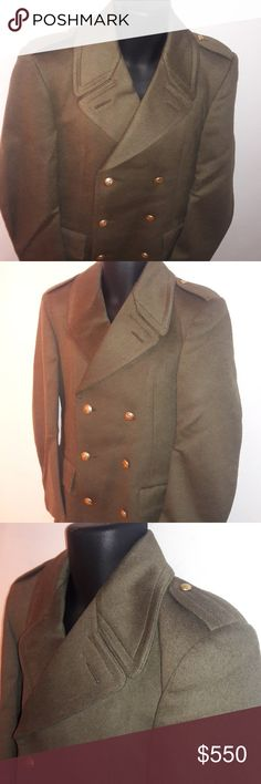 🏆ESERCITO ITALIANO[Italian Army] Officer Pea Coat This awesome Italian Army Officer pea coat / trench coat is army green with gold buttons. US Size 38. In good, gently-used condition. Some damage to bottom front, as pictured.  Hence the major price break. Still a great statement piece that can be easily repaired. Esercito Italiano Jackets & Coats Pea Coats
