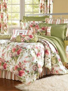 Claire's Garden Comforter - This classic cottage bedroom is reinvented with a trio of flirty fabrics: floral bouquet, panel stripe, and a windowpane plaid. The comforter, stand Stylish Bedroom, Shabby Chic Bedrooms, Bedroom Green, Bedroom Decor, Master Bedroom, Floral Bedroom, Green Bedding, Bedroom Ideas, French Country Bedrooms