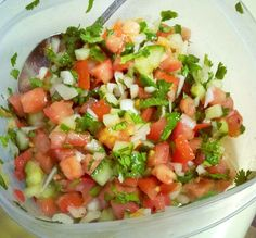 I medium sized tomato, finely chopped 1/4 medium onion, finely chopped 2 T finely chopped seedless cucumber 2 T fresh cilantro 1-2 garlic cloves Pinch red pepper flakes S&P to taste Squeeze of …