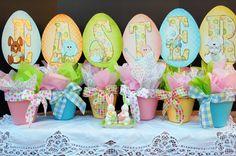 ".Free Easter printables.  Fun ""egg flower"" pots!"