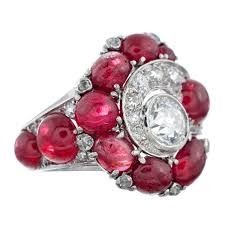 Image result for cabochon ruby with diamonds ring