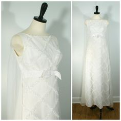 Vintage 1960s Wedding Dress, Bridal White Chiffon and Lattice Lace Bridal Gown with Waterfall Train Size Small