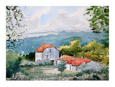 Vinha da Capela - Póvoa Watercolour, Paintings, Art, Vineyard, Pen And Wash, Art Background, Watercolor Painting, Paint, Painting Art