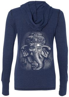 "Ladies 3D GANESHA DARK Hoodie, 2XL Navy (mid-back print). Features a very cool 3D version of the wise Ganesh!!. This moisture wicking pullover has thumb holes on the cuffs. 50 Polyester - 38% Cotton - 12% Rayon. Please Note: This is a lightweight hooded tee shirt, not a hoody sweatshirt. Design appears on the ""back"" of the shirt. There is no image on the front. ""Yoga Clothing for You"" guarantees your satisfaction on every purchase!."