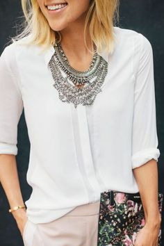 White blouse with statement necklace, click here to get more style tips from our expert stylists!   Tumblr Jewellery   Pinterest