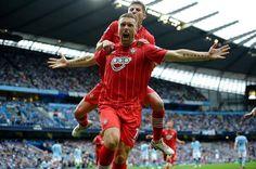 Rickie Lambert celebrating after scoring against Man City away. Southampton Football, Southampton Fc, Rickie Lambert, Saints, Club, Celebrities, Santos, Celebs, Famous People