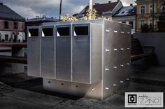 Stainless steel recycling bin connected with planter - great and functional solution for every city...