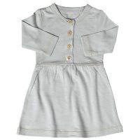 Merino Button Front Baby Girl's Dress in Pumice | Nurtured By Nature