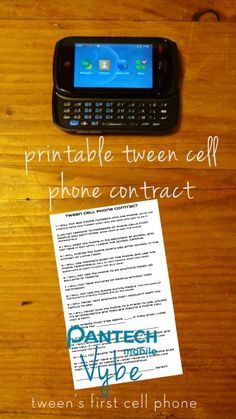 Pantech Vybe and Printable Tween Cell Phone Contract (Giveaway ends