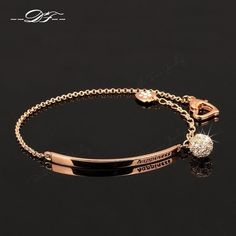 Cubic Zirconia OL Style Ball Rose Gold Color Fashion Charm Bracelets & Bangles