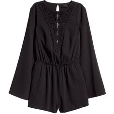 H&M Playsuit with trumpet sleeves ($37) ❤ liked on Polyvore featuring jumpsuits, rompers, playsuits, dresses/rompers, h&m, black, jumpsuits & rompers, short sleeve romper, black short romper and black short jumpsuit