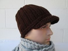 Knitted Newsboy Hat Mens Hat Mens Accesories Brimmed beanie mens newsboy hat Brim Hat Newsboy Cap Crochet Hat Winter Hat visor hats knit hat