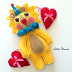 Birthday Lion Plush doll Yellow Blue Cute by ModernStyleHoliday