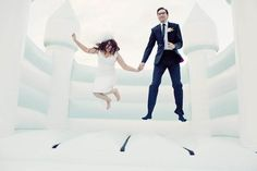 I love this white bouncy castle!   Giant Teacups, A Homemade Bouncy Castle & Elvis – A DIY Wedding to the Extreme!: Caroline & Stuart