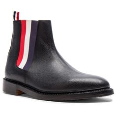 Thom Browne Pebble Grain Leather Chelsea Boots ($1,090) ❤ liked on Polyvore featuring men's fashion, men's shoes, men's boots, boots and mens leather sole shoes