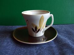 Vintage USSR Latvia Riga PFF Small Cofee Cup Saucer Gold White Brown  1950s #30