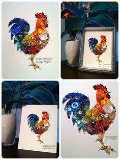 Unique Kitchen Decor! Rooster Art Button Art & Swarovski Rhinestones. #kitchen #decor #diy