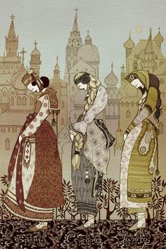 """""""Ivashko, sit on the thongs; I will lower you, then you will come to three kingdoms, and in each of them you will see a maiden."""": illustration for 'The Three Kingdoms' from a collection of Russian Fairy Tales (artwork by from Kate Baylay) Klimt, Alphonse Mucha, Art And Illustration, Fairy Tale Illustrations, Botanical Illustration, Art Populaire Russe, Russian Folk Art, Fairytale Art, Fantasy Art"""