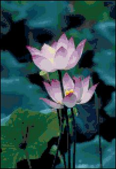 Two Lavender Purple Oriental Lotus Blossoms Cross Stitch Pattern Design Chart Flower Garden PDF Digital File Instant Download by theelegantstitchery on Etsy