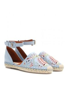 A Jour Embroidered Leather Espadrilles
