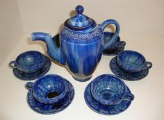 Rare Blue Mexican Pottery Majolica DripwareMexican by flyingdollar, $49.00