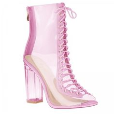Desiree Lace Up Ankle Boots In Pink Perspex ($50) ❤ liked on Polyvore featuring shoes, boots, ankle booties, short boots, laced boots, lace-up ankle boots, lace up ankle bootie and pink booties