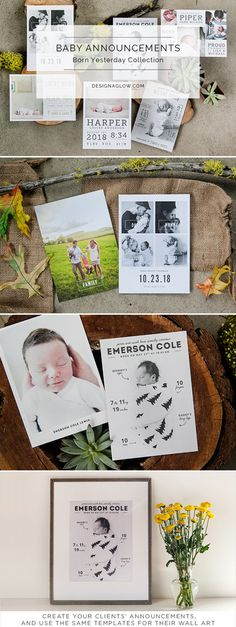 Our excitingly varied and fully customizable birth announcement templates for photographers allow you to instantly create email-able artwork to help your clients showcase their precious new addition. And, with multiple card style variations there's sure to be something for everyone.