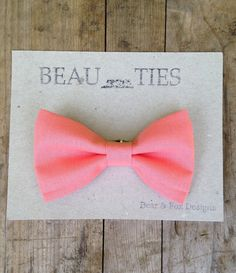 Baby Boy Toddler clip-on bow tie Coral by bearandfoxdesigns