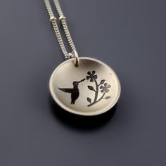 Small Etched Hummingbird Necklace by Lisa Hopkins Design