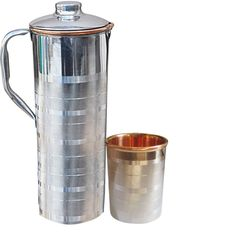 DakshCraft Copper Jug Pitcher with 1 Tumbler Glass Copper Utensils For Ayurveda Healing
