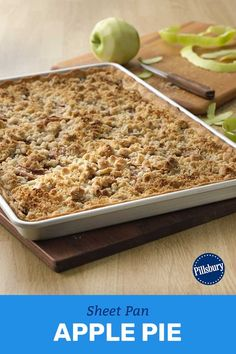 Turn your favorite streusel-topped apple pie into a shareable slab your family, friends and neighbors can all enjoy together. Easy Desserts, Delicious Desserts, Yummy Food, Apple Recipes, Baking Recipes, Yummy Recipes, Apple Slab Pie, Pillsbury Recipes, Crisp Recipe