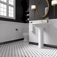 Create a dramatic look in your bath with penny tile and brass accents. A pair of sconces provide a modern alternative to traditional vanity lighting. White Bathroom Tiles, Bathroom Floor Tiles, Modern Bathroom, 1930s Bathroom, Black White Bathrooms, Vintage Bathroom Tiles, Master Bathroom, Black And White Bathroom Floor, Timeless Bathroom
