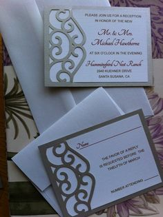 Gates Unique Wedding Invitation Laser Cut by CelineDesigns