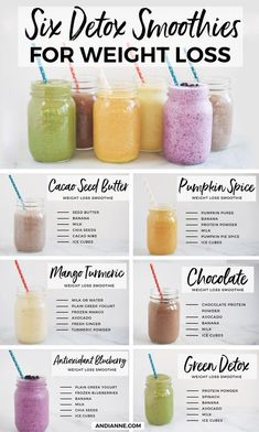 6 Detox Smoothies For Weight Loss. Can be used as a me. - detox - 6 Detox Smoothies For Weight Loss. Can be used as a meal replacement, or f - Protein Smoothies, Chocolate Protein Smoothie, Smoothies Detox, Green Detox Smoothie, Easy Smoothies, Weight Loss Smoothies, Chia Seed Recipes For Weight Loss, Detox Juices, Low Calorie Smoothie Recipes