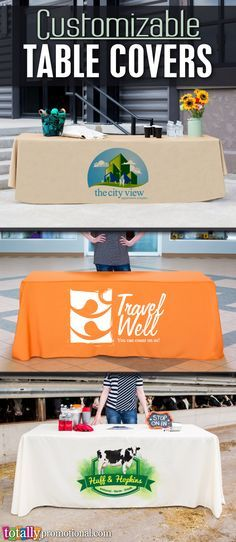Customizable table covers can be used for any occasion, business or school! We can print your logo, school name or event info on high-quality 300 Denier Polyester! We offer a variety of sizes and colors to compliment any event, stand out in the crowd while making a professional impact! Use coupon code PINNER10 and receive 10% off your table cover or table runner order! Not valid on trade show packages or with other coupon codes, expires December 31, 2016. #tablecover