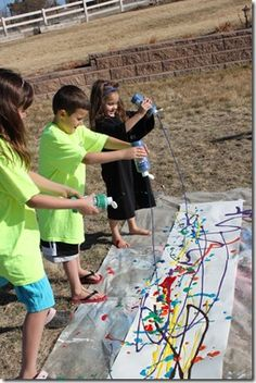 This looks like fun... They are studying famous artists.  This one is the style of action Jackson Pollock.  What a way to teach a style of an artist!