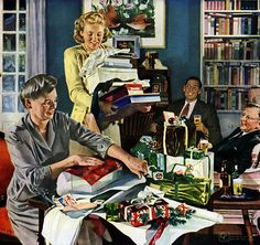 Retro Vintage 1950s Christmas Ads and Holiday Art :: Wrap Party, 1948