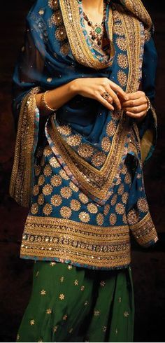 Patiala suit blue & forest green