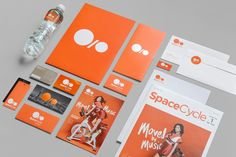 Brand identity design project for SpaceCycle a fitness center, it offers indoor cycling and yoga and barre classes with an emphasis on music and style.