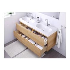 IKEA - GODMORGON / BRÅVIKEN, Meuble pour lavabo, 4 tiroirs, effet chêne blanchi, , Garantie 10 ans gratuite. Renseignements complets dans notre livret de garantie.Tiroirs munis de butées, s