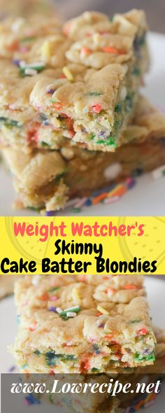 Weight Watcher's Skinny Cake Batter Blondies!!! - Low Recipe