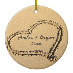Beach Wedding | 1st Christmas Together Add Names Ceramic Ornament