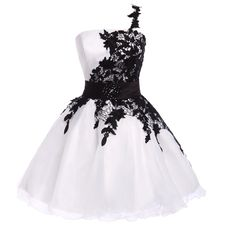 New Arrival White And Black Homecoming Dress,High Quality Homecoming Dress,Organza Prom Dress,Short Prom Dress Graduation Dress