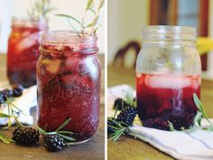 Berry Rosemary Cocktail. This looks kind of gross but also kind of good. Plus, it's in a jar.