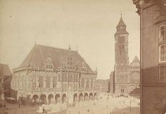 CABINET PHOTO EARLY OUTDOOR VIEW BREMEN GERMANY CATHEDRAL AREA 1880'S